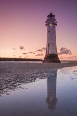 Guardian angel of the night (sagesolar) Tags: lighthouse newbrightonlighthouse perchrocklighthouse liverpool merseyside newbrighton england structure seascape sunset sunsetcolors dusk skyscape clouds goldcoast wetreflection reflection architecture lowlight longexposure beautifulsky