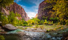 Zion Valley - Textured HDR (byron bauer) Tags: byronbauer virgin river valley zion nationalpark water flowing sandstone cliff green trees rock sky blue clouds texture painterly redrock canyon utah landscape vista topaz simplify 7exp