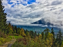 Morning view over the river Inn valley with low clouds (UweBKK (α 77 on )) Tags: morning view landscape sky clouds trees forest valley river inn mountains alps hike trail germany deutschland austria österreich bayern bavaria tyrol tirol iphone europe europa