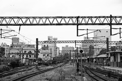 Railway Tracks (superzookeeper) Tags: 5dmk4 5dmkiv canoneos5dmarkiv ef2470mmf28liiusm eos digital taiwan hsinchu blackandwhite bnw monochrome tw formosa railway railwaystation train trainstation railroad hsinchustation