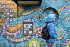 North Milwaukee Avenue, Logan Square, Chicago (Timothy Neesam (GumshoePhotos)) Tags: northmilwaukeeavenue logan square chicago atm graffiti blue fuji fujifilm xt2