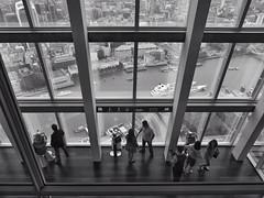 Inside The Dark Tower (Douguerreotype) Tags: london monochrome glass people shard blackandwhite uk british tourism buildings street window view architecture britain city gb bw urban england