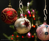 Christmassy lights (kimbenson45) Tags: christmas christmastree xmas baubles bok closeup colorful colors colourful colours decorated decorations differentialfocus green lights ornaments pink red seasonal shallowdepthoffield silver star white
