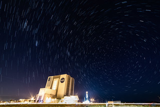 Star trails over the Vehicle Assembly Building