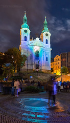 _MG_2674_web - The Light Festival in KV (AlexDROP) Tags: 2017 karlovyvary carlsbad czechrepublic travel architecture color city wideangle urban night circpl spa resort scape canon6d ef16354lis historicalplace best iconic famous mustsee picturesque postcard hdr panoramic europe church light