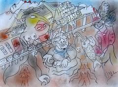 LA VIEILLE GARE DE HOPE  (B.C.) (Claude Bolduc) Tags: dessin drawing artsingulier bc britishcolumbia hope outsiderart artbrut intuitiveart visionaryart lowbrow rawart horsnorme artmarginal