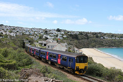 New & old GWR liveries at Carbis Bay (Kernow Rail Phots) Tags: kernow cornwall st ives branch scenic sun sea sand sprinter dmu trees bushes 150104 beach shore carbis bay erth saturday 30th april 2016 trains train railway railways railroad railroads gwr fgw liveries green blue 150232 class 150 150s canon 7d