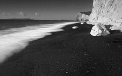 Beach Scene Durdle Door (www.davidrosenphotography.com) Tags: dorset lulworth beach sand sea seascape blackwhite travel rocks clouds waves