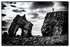 Iceland 2017 - Gatanöf (cesbai1) Tags: gatanöf is iceland islande islanda islandia noth coast husavik seaside littoral noir et blanc black white nb bw contrejour falaise cliff sunset