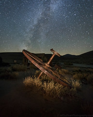 Bullwheel & Milky Way (Jeffrey Sullivan) Tags: star trails bodie state historic park mono county eastern sierra bridgeport california usa night travel photography milky way light painting astrophotography canon eos 6d photo copyright 2017 jeffsullivan allrightsreserved october abandoned rurral decay wild west mining town preservation starstax
