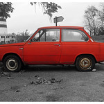 Automobile daf rouge, le Chambon Feugerolles thumbnail