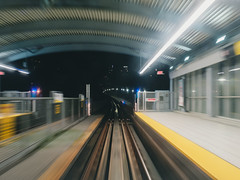 Departure... (little_stephy0925) Tags: vancouver bc canada britishcolumbia coquitlam burnaby skytrain bctransit bctranslink fujifilm fuji fujixt2 xt2 fujinonxf1655mm xf1655mm mirrorlesscamera nightphotography slowshutterspeed departure station skytrainstation dirtywindow
