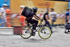 Gig economy (jeremyhughes) Tags: london delivery cyclist gigeconomy bike road bicycle rider cycling deliveroo city fixie fixedgear fixedwheel fixed trackbike singlespeed goggles speed motion movement panning urban nikon d750 nikkor afzoomnikkor80200mmf28ded 80200mmf28d
