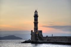 Lighthouse at dusk (sidibousaid60) Tags: chania crete greece mediterranian sunset dusk twilight harbour sea mountains silhouettes