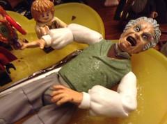 Happy Birthday, Bilbo Baggins! (splinky9000) Tags: kingston ontario colin clark birthday mine chocolate cake 92214 lord of the rings toys bilbo baggins toybiz action figures lego minifigures gandalf aragorn legolas gimli boromir faramir heroclix miniatures bofur bombur balin dwalin thorin oakenshield goblin king warg moria orc cave troll gollum smeagol vinyl funko pop uruk hai