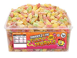 SweetZone 100% Halal Jelly Sweets - Fizzy Worms Tub of 600pcs Islamic Impressions