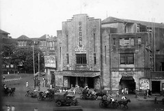 India = Regal Cinema, Bombay (rossendale2016) Tags: pedestrians carriage drawn ehicles cart horse horses bicycle bikes video producer director actresses actors people large tickets bollywood stars film screen popular theatre bombay cinema regal india
