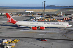 G-VWEB (Rich Snyder--Jetarazzi Photography) Tags: virginatlanticairways virginatlantic virgin vir vs airbus a340 a340600 a340642 a346 gvweb surfergir departure departing sanfranciscointernationalairport sfo ksfo millbrae california ca airplane airliner aircraft jet plane jetliner ramptowera rcta atower
