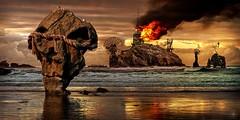 Mysterious Island (Vincent Mattina (aka FLUX)) Tags: mysterious island sea ocean death skull fire flames ruin abandon apocalypse apocalyptic