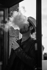 La tête dans les nuages! (guillaumegesret) Tags: dinard smoking monochrome moment man miii human humaniste humain city cigarette fire france french street streetview streetphotogrpahie tentation streetart streetphotographer structure style station story streetphotography hair