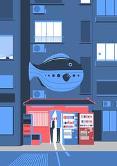 Fugu restaurant (Philippe Nicolas) Tags: street restaurant fish fugu japan life building illustration machine night red poster traditional modern japanese japon poisson pesca pesce finestre giaponese vector style fashion illustrator