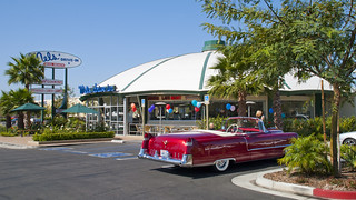 1955 Cadillac Series 62 convertible with top down Mel's Diner --- EXPLORED