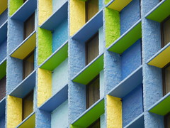 boxes of color (kenjet) Tags: design balcony yellow blue green cube box square hotel thelinq thelinqhotel lv vegas lasvegas nevada structure building color block blocks geometric line lines