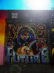Future Telling (Steve Taylor (Photography)) Tags: graffiti streetart mural shop woman lady uk gb england greatbritain unitedkingdom london lensflare ivesone kaes future menwith jaykaes fortuneteller gypsy mask hood ball eye