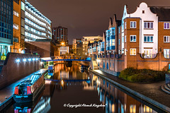 Birmingham Canal (atomikkingdom) Tags: happy birmingham canal narrowboat bright blue uk cloud water moored sky light boats apartment pavement waterways