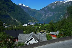 Landscape. (Eddie Crutchley) Tags: cruise2017norwayicelandireland europe norway outdoor nature beauty blueskies geirangerfjord sunlight geiranger trees fjord village landscape mountain cruiseship simplysuperb