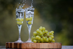 Still life with grapes and glasses. (Elena Grigorieva) Tags: challenge wow incredible drink cheers celebrating outdooractivities funactivity splashedup funtimes outdoorfun outdoor fastspeedphotography bestphotographer photography best nikon grigorievaphotography nikkor55300mm closeupoffood splash grapes cmwdgreen