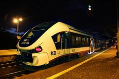 KD SA139-010 , Wrocław Leśnica train station 03.10.2017 (szogun000) Tags: wrocław poland polska railroad railway rail pkp station wrocławleśnica diesel dmu motorcar railbus szynobus pesa 223m sa139 sa139010 link kd kolejedolnośląskie train pociąg поезд treno tren trem passenger commuter osobowy 67311 d29275 e30 night nightshot lights dolnośląskie dolnyśląsk lowersilesia canon canoneos550d canonefs18135mmf3556is