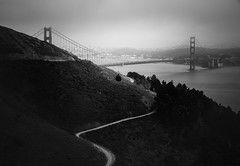 Golden Path (Darren LoPrinzi) Tags: goldengate goldengatebridge bridge bw blackandwhite blackwhite mono monochrome road windingroad sanfran sanfrancisco bayarea marin marincounty ca california westcoast city cistyscape skyline fog foggy cloudy
