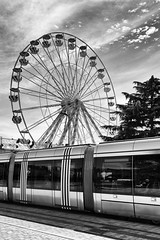 In movement (Vanvan_fr) Tags: tree monochrome bw nb blackandwhite noiretblanc sky ciel nuages couds cloudysky granderoue bigwheel tram tramway ombre shadow street rue city ville tourscity urban urbain touraine tours zeiss carlzeiss distagon352zf distagon352zf2 35mm nikon df nikondf ff fullframe france photo