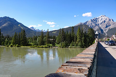 Bow River and Banff Avenue Bridge (Can Pac Swire) Tags: banff alberta canada canadian city national park 2017aimg0079
