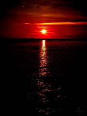 good-night, Sun - be careful! (ellynwriting - health slowdown) Tags: sunset sinking sun lakehuron spindrift whiskeyharbour brucepeninsula ontario lake greatlakes bay