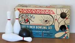 Bayshore Deluxe 11 Inch Bowling Set - Bowl at Home!  1955 (hmdavid) Tags: vintage toy game midcentury art illustration deluxe bowling set bayshore 1950s 1955 bowl