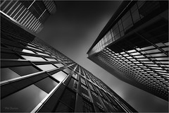Moments In B&W (Phil Durkin) Tags: england london uk architecture buildings canarywharf glass structure modern design angles clean lines cloud night nightime perspective