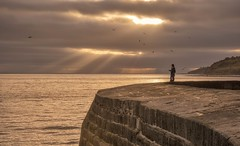 Drone Rays (Captain Nikon) Tags: drone thecobb lymeregis dorset southwest coastal seadefence seawall sunset sunrays crepuscularrays moody atmospheric