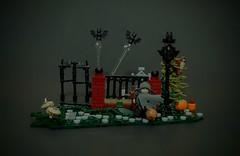A Spooky Night. . . (NS LEGO Designs) Tags: nslegodesigns lego moc creation build model myowncreation spooky halloween scary cemetery fence iron brick gate bats animals lamp terrain pumpkins ghost boo spirit
