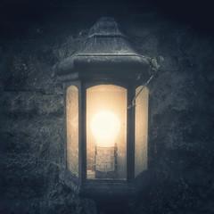 Lantern (Mobile Phone Photo) (aveyardphotography) Tags: cobweb spider wall lamp lantern old electric light bulb glow mobile cell phone lg lgg6