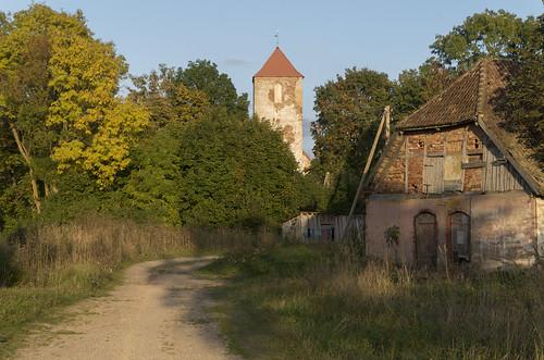 Skats uz Lestenes evaņģēliski luteriskās baznīcas torni, 30.09.2017.