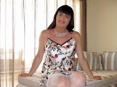 Smile (Paula Satijn) Tags: sexy hot girl satin silk nightie nightdress chemise lady stockings white shiny smile happy joy tgirl tranny transvestite elegant cute adorable