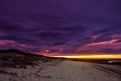 Purple Sky 2 (brucetopher) Tags: sky water beach sea ocean cloud clouds cloudy purple skies cloudscape seascape sunset sunlight rays colorful royal regal sand strand 7dwf crazytuesday