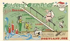 The Viking: Seasons Greetings from the Bogards - Portland, Oregon (73sand88s by Cardboard America) Tags: vintage qsl qslcard cbradio cb theviking seasonsgreetings christmas oregon
