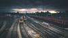 Clapham Junction (Gianpaolo Fusari) Tags: autumn clouds 2017 england lumixg14f25 cinematic london claphamjunction panasonic sunset trains railway battersea lumixgx7 dusk unitedkingdom gb