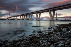 Into the Blue (Kyoshi Masamune) Tags: edinburgh southqueensferry queensferrycrossing firthofforth forth forthroadbridge longexposure zomeind1000 zomei sunset clouds cloudscape uk scotland kyoshimasamune cokinfilters cokinnd8 ultrawideangle wideangle forthrailwaybridge seascape fife kingdomoffife northqueensferry