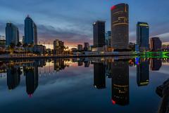 Reflected Morning in Tampa 2 (Photomatt28) Tags: beercan effects florida hillsboroughriver reflection rivergatebuilding skyline sunrise sykesbuilding tampa tampamuseumofart tampariverwalk