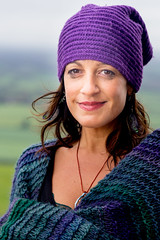 Stranger 435 - Laura (Andrew The Professor) Tags: glastonbury glastonburytor stranger laura somerset england outdoor portrait creative artist writer therapist gardener scarf italian italy standing noreflector travel countryside unitedkingdom uk cook hat 85mm sal85f28