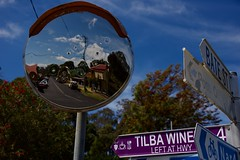 Street signs and mirror (jack eastlake) Tags: drive tourists farming dairy dairying making cheese rush mining gold historic mirrors directions street signs winery village heritage narooma coast south nsw tilba central